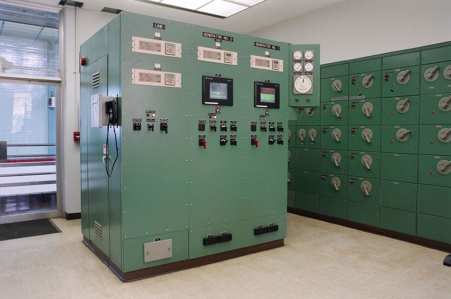 Electrical control panels at the MWRA Cosgrove facility.