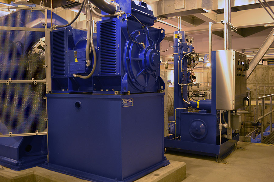 Hydraulic power unit and generator at hydroelectric facility at MWRA facility on Loring Road